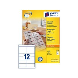 Zweckform Etiket Avery zweckform 3659 97x42.3mm wit 1200stuks