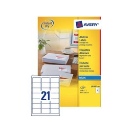 Avery Etiket Avery j8160-100 63.5x38.1mm wit 2100stuks