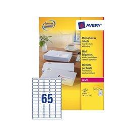 Avery Etiket Avery l7651-100 38.1x21.2mm wit 6500stuks