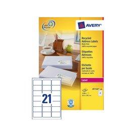 Avery Etiket Avery lr7160-100 63.5x38.1mm recycled wit 2100stuks