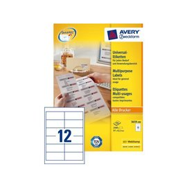 Zweckform Etiket Avery zweckform 3659 97x42.3mm wit 2400stuks