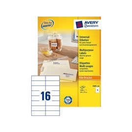 Zweckform Etiket Avery zweckform 3484 105x37mm wit 3200stuks