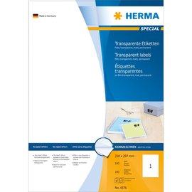 Herma Herma 4376 etiketten transparant mat A4 210x297 mm folie 100 st.