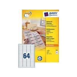 Zweckform Etiket Avery zweckform 3667 48.5x16.9mm wit 6400stuks