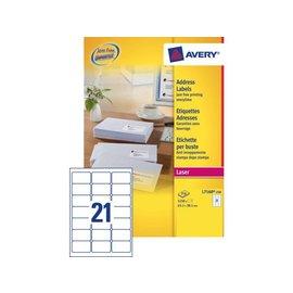 Avery Etiket Avery l7160-250 63.5x38.1mm wit 5250stuks