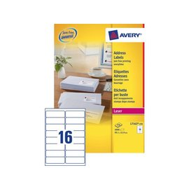 Avery Etiket Avery l7162-250 99.1x33.9mm wit 4000stuks