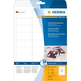 Herma Herma 4233 etiketten wit veiligheidsetiketten 63,5x29,6 A4 lc