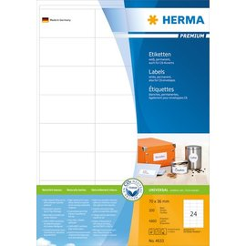 Herma Herma 4633 etiketten wit 70x36 premium A4 4800 st.