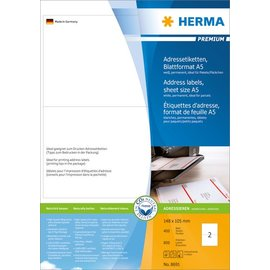 Herma Herma 8691 adres-etiketten premium vel formaat A5 105x148 mm wit papier mat 800 st.