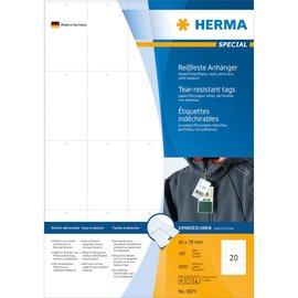 Herma Herma 6871 stevige labelhangers A4 42x70 mm wit papier/folie/papier geperforeerd niet hechtend 2000 st.