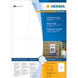 Herma Herma 8047 stevige labelhangers A4 70x148,5 mm wit papier/folie/papier geperforeerd niet hechtend 600 st.
