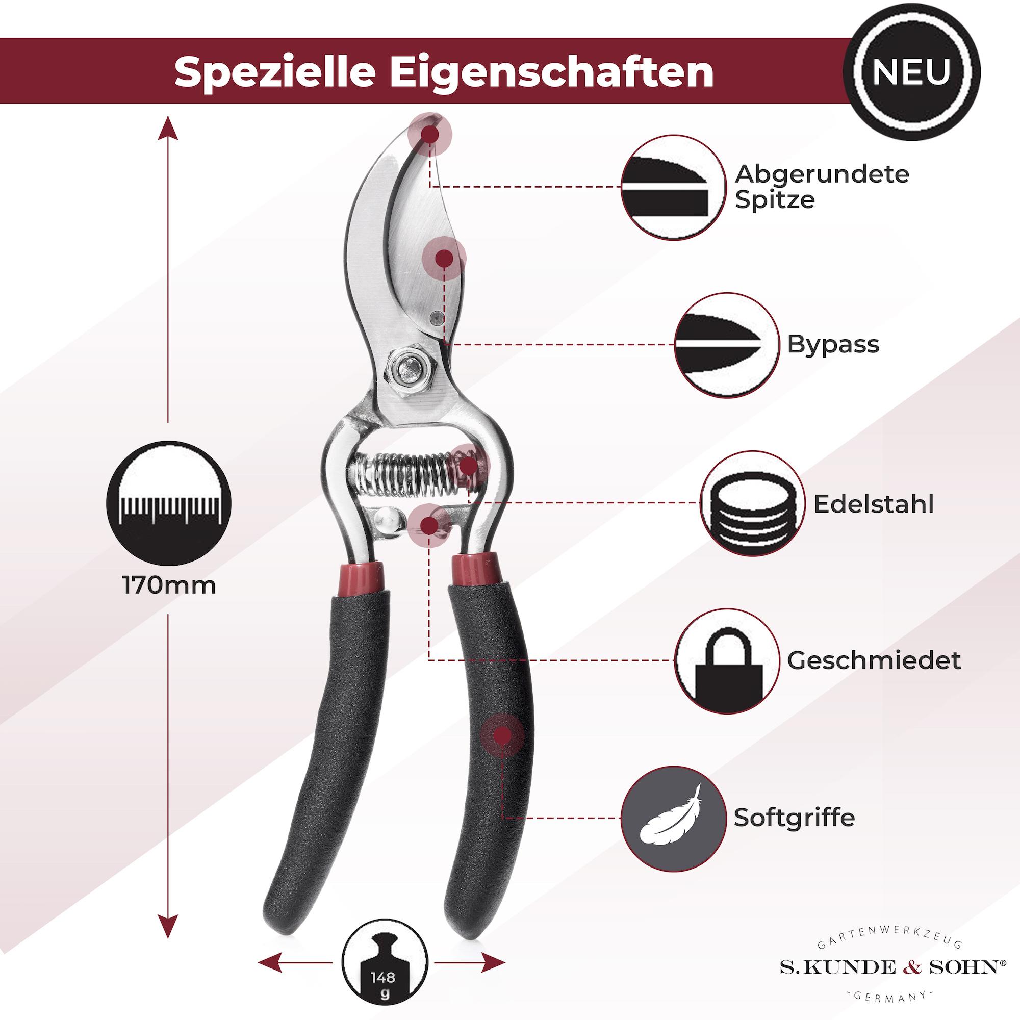 S. Kunde & Sohn Germany SKS 6 Tradition Schwarz/Klinge silber 2er Set - Schere + 1 Ersatzklinge