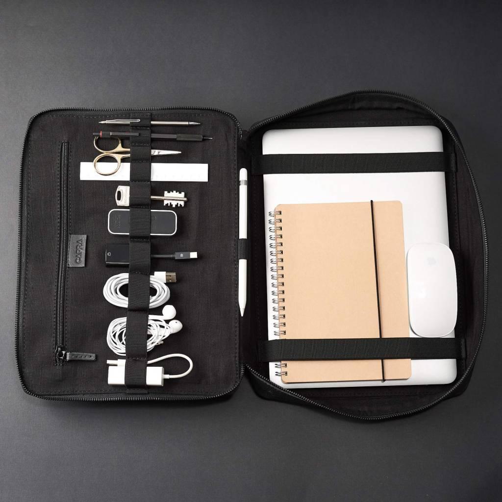 Capra Leather Capra Leather Tech & Laptop Portfolio Black