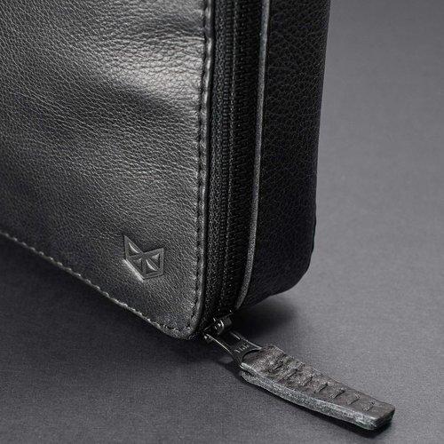 "Capra Leather 13"" Tech & Laptop Portfolio - Black"
