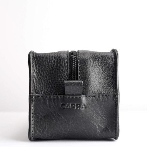 Capra Leather Barber Toiletry - Black