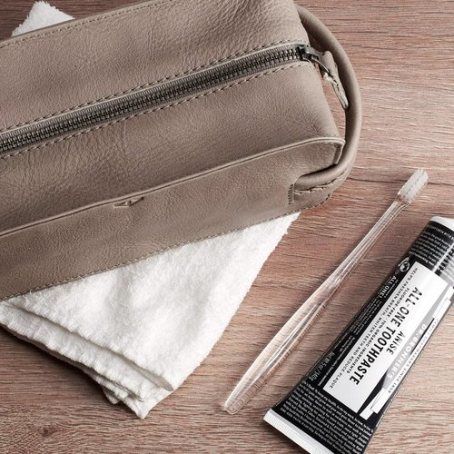 Capra Leather Barber Toiletry - Grey
