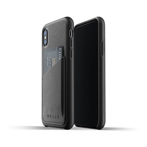 Mujjo Leren Wallet iPhone X/Xs - Zwart