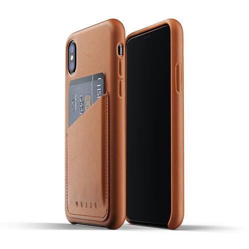 Mujjo Leren Wallet voor iPhone X/Xs - Bruin