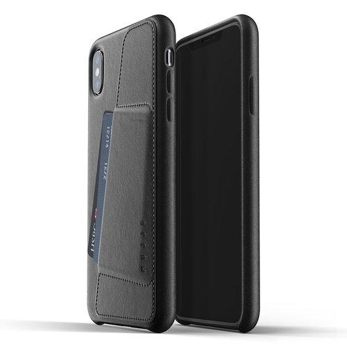 Mujjo Leren Wallet iPhone Xs Max - Zwart