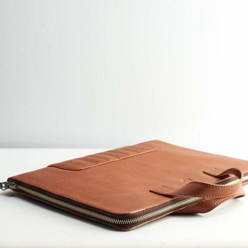 Capra Leather Biker Laptop Portfolio - Tan
