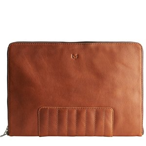 "Capra Leather 13"" Biker Laptop Portfolio - Tan"