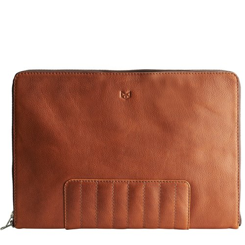 Capra Leather Biker Laptop Portfolio - Tan