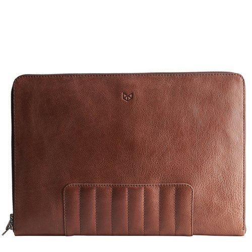 Capra Leather Biker Laptop Portfolio - Tobacco