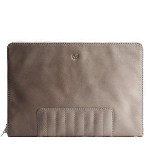 "Capra Leather 13"" Biker Laptop Portfolio - Grey"