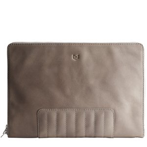 Capra Leather Biker Laptop Portfolio - Grey