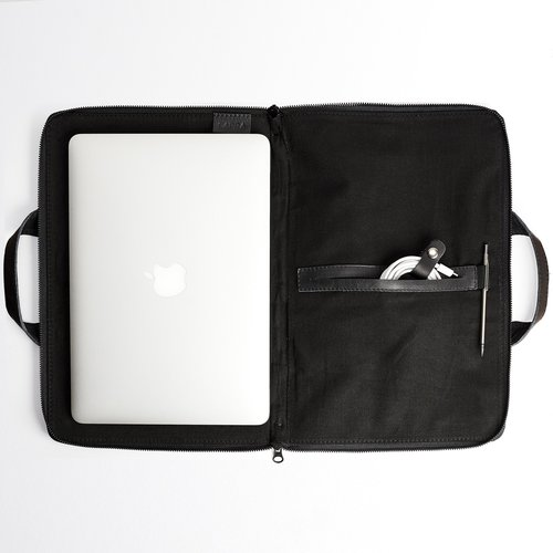Capra Leather Biker Laptop Portfolio - Black