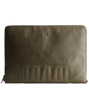 Capra Leather Biker Laptop Portfolio - Military Green