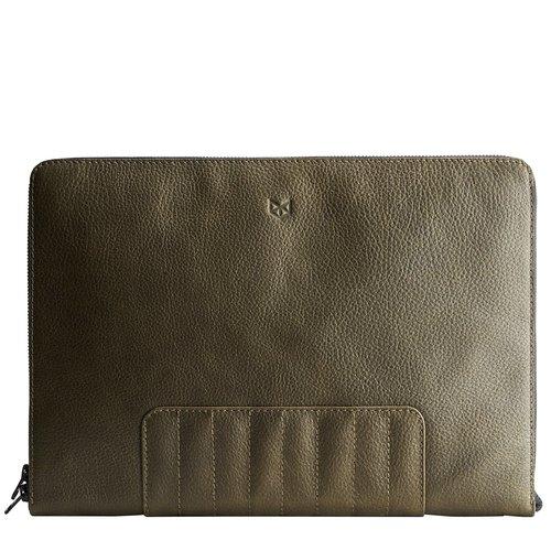 "Capra Leather 13"" Biker Laptop Portfolio - Military Green"