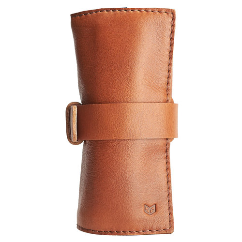 Capra Leather Watch Roll - Tan