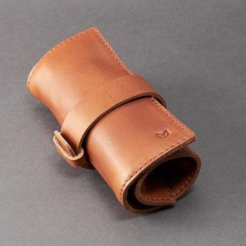 Capra Leather Watch Roll - Tan