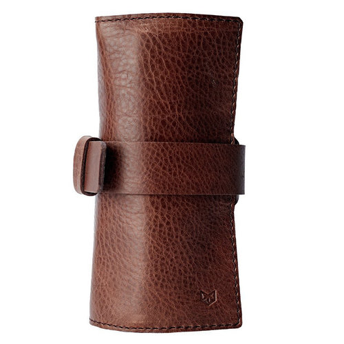 Capra Leather Watch Roll - Tobacco