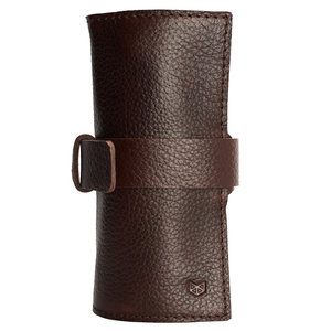 Capra Leather Watch Roll - Dark Brown