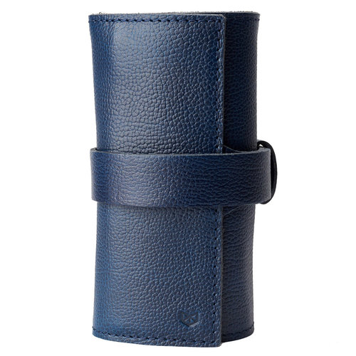 Capra Leather Watch Roll - Ocean Blue