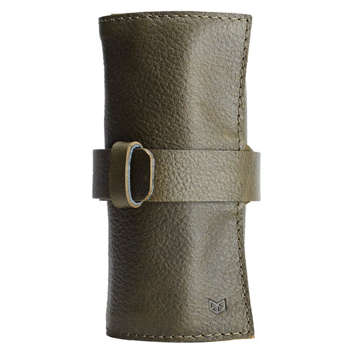 Capra Leather Watch Roll - Military Green