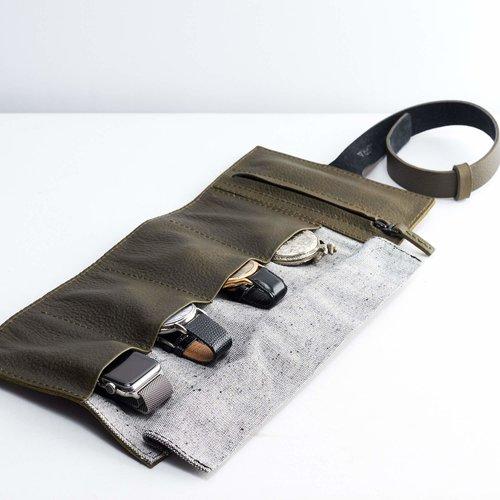 Capra Leather Horloge Etui - Military Green