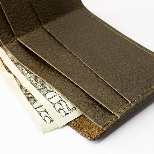 Capra Leather Slim Wallet Set - Military Green