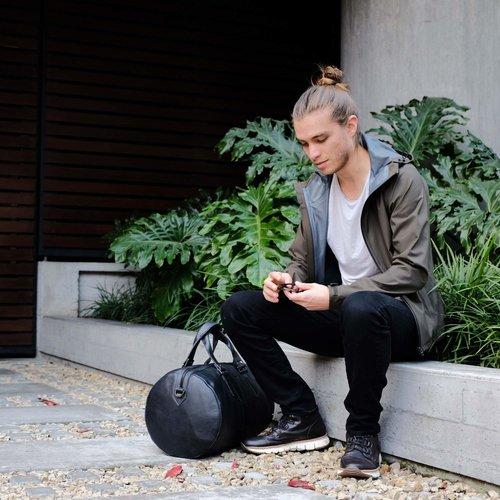 Capra Leather Duffel - Black