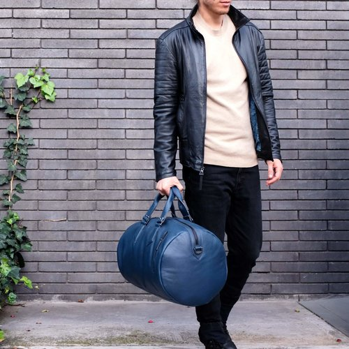 Capra Leather Duffel - Ocean Blue