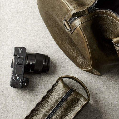 Capra Leather Duffel - Military Green