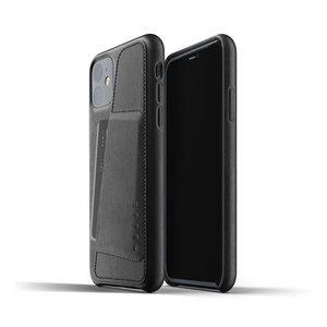 Mujjo Leren Wallet iPhone 11r - Zwart