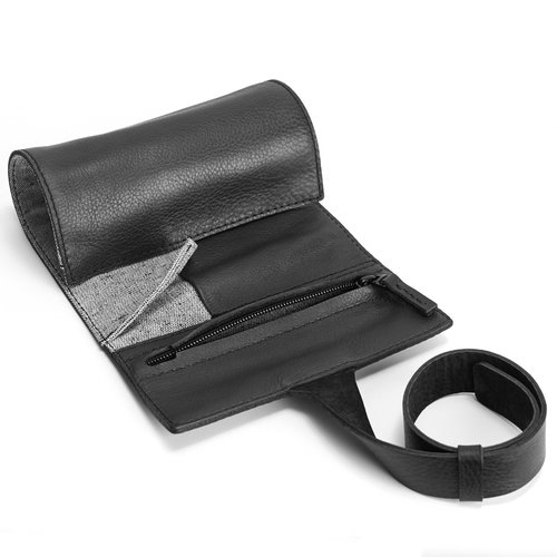 Capra Leather Watch Roll - Black