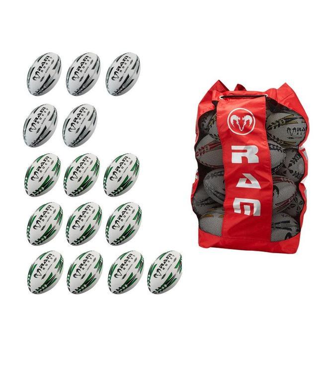 RAM Rugby 15x Match & Pro training bundel + ballenzak, rugbyballen kopen