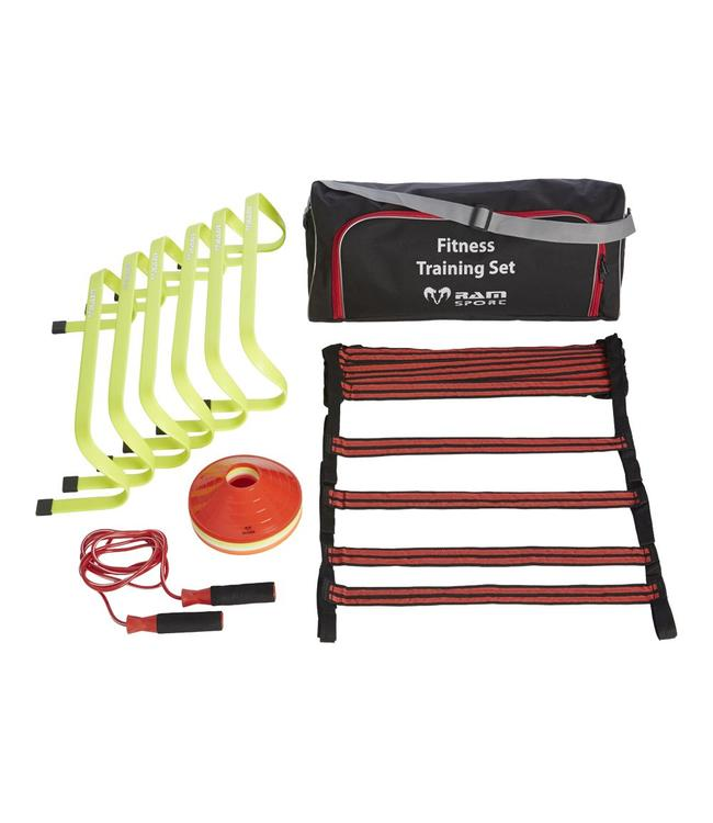 RAM Rugby Fitness Training set. Horden, ladders, cones en springtouw in nette tas