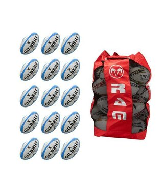 Gilbert 15x Rugby Ball Bundle + Ballsack