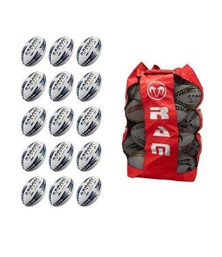 RAM Rugby 15x Pro Trainer Gripper Rugby Ball Bundle mit Tragetasche