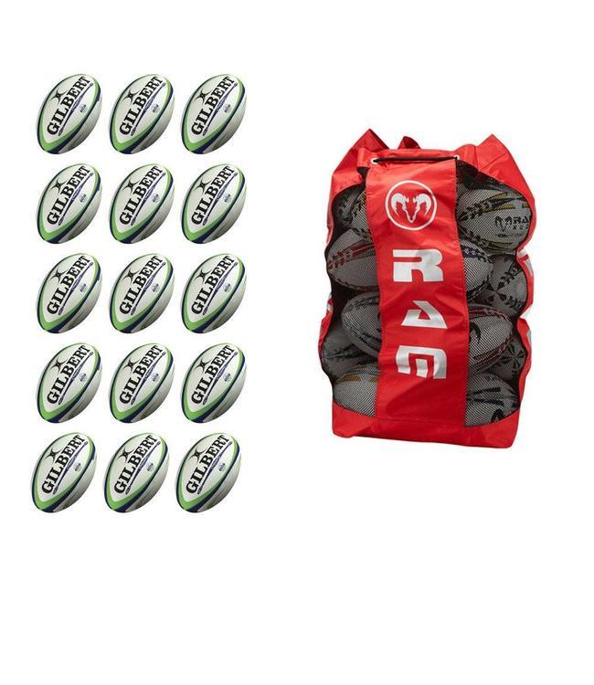 Gilbert 15x Gilbert Match Rugbybal Bundel inclusief Ballentas